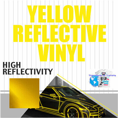 Reflective Yellow Sign Vinyl Adhesive Safety Plotter Cutter 12x10ft