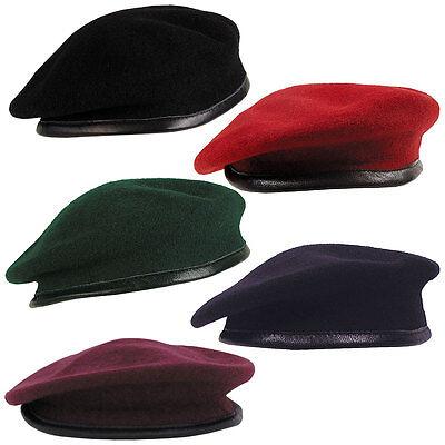 DO BARETT, Baskenmütze Army Mütze schwarz rot grün o. blau (Schwarze Baskenmütze)