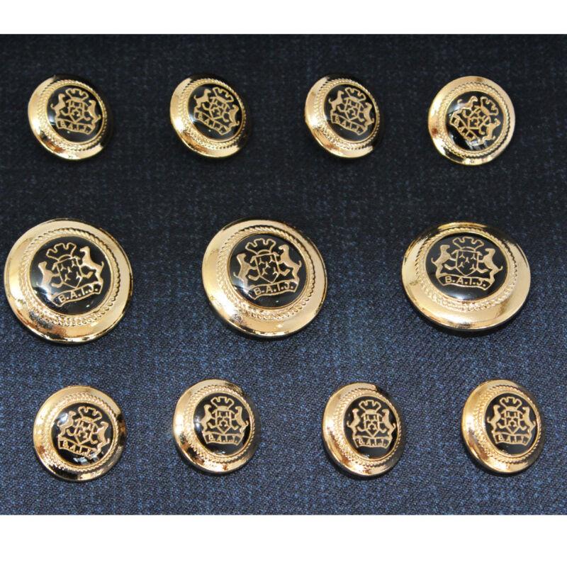 Gold Black  Metal Blazer Buttons Set For Suit  Sport Coat