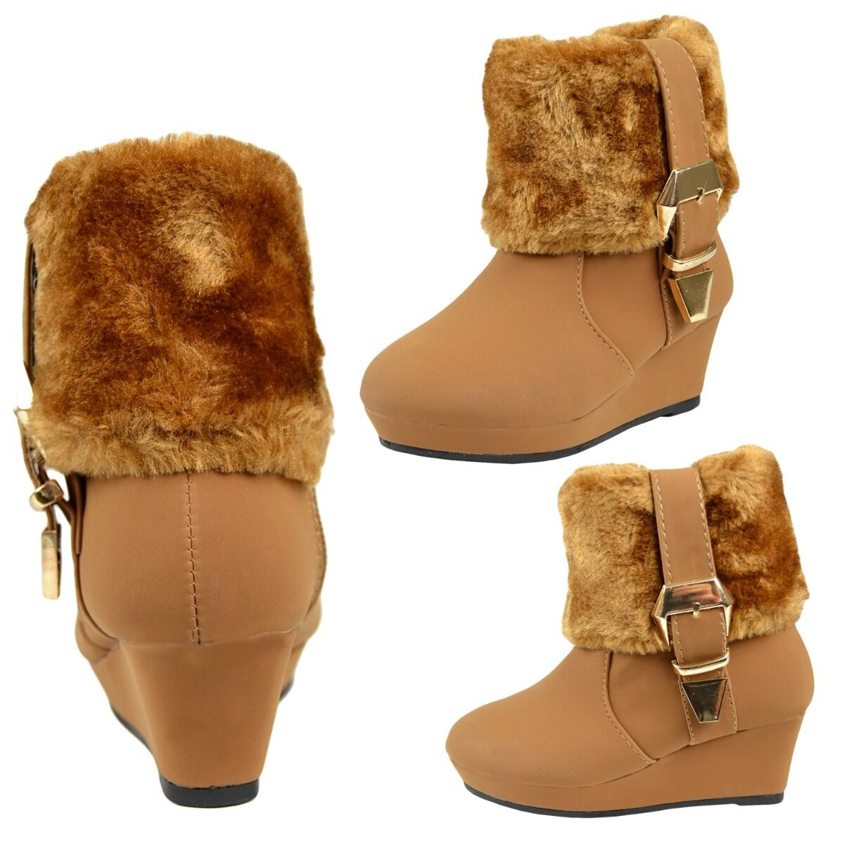 08a02c4bdf96 Details about Kids Boots Girls Toddler Youth Fur Cuff Ankle Wedge Booties  w  Buckle Accent Tan