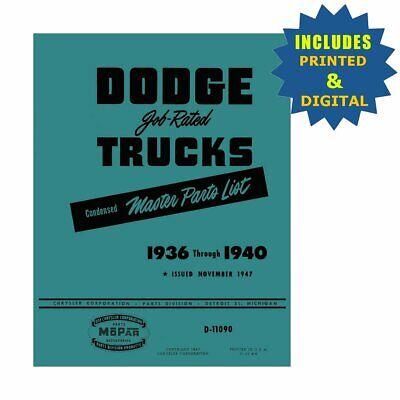 OEM Repair Maintenance Parts Book CD & Bound for Dodge All Models 1936 - 1940 Dodge Oem Parts Cd