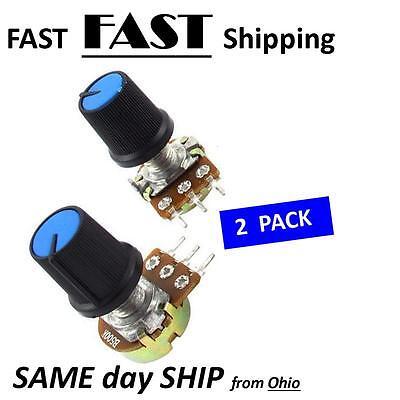 2 Pack  500k Ohm 3pin Rotary Audio B Type Pot Potentiometer - 3 Pin