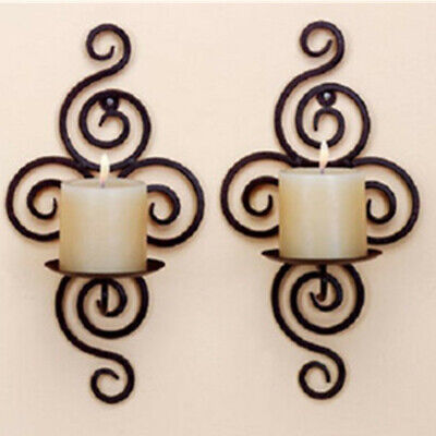 Iron Scroll Candle Holder Candlestick Wall Hanging Sconce Home Wedding Decor ! Wall Sconce Iron Candle Holder