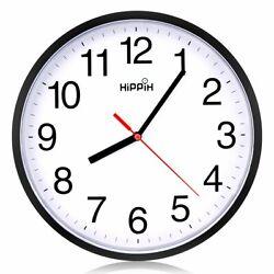 Black Wall Clock Silent Non Ticking Quality Quartz  Hippih 10 Inch Round Easy