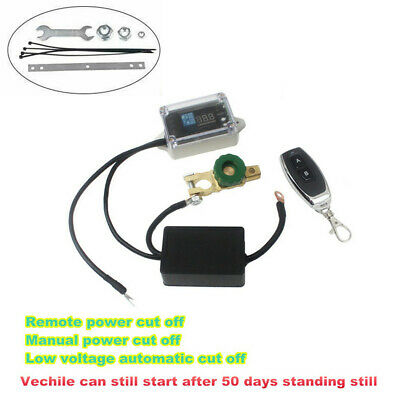 Car Wireless Remote Battery Disconnect Isolator Cut-Off Switch LED Volt Display