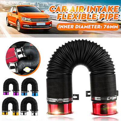 76mm 1M Car Air Intake Cold Pipe Flexible Duct Feed Hose Induction Kit Filter UK
