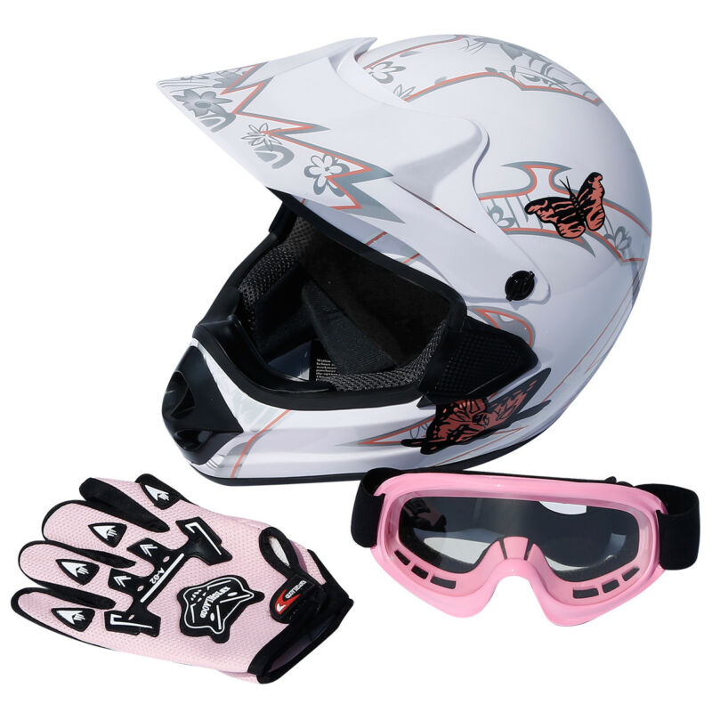 DOT Youth Pink Butterfly Dirt Bike ATV Motocross Helmet Goggles Gloves S M L XL