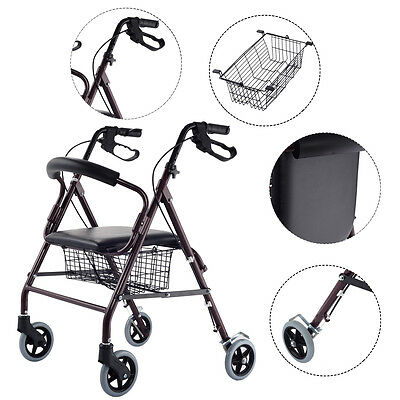 Drive Medical Rollator Walker Folding W  6 Wheel Basket Soft Seat Adult Health