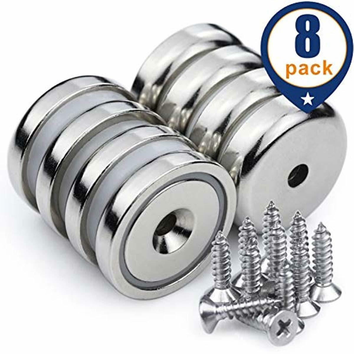 Neodymium Cup Magnets with 90 lbs Pull Capacity Each - Dia 1