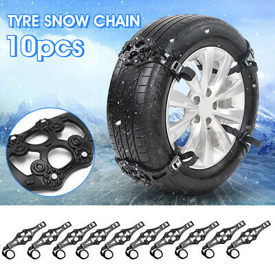 10 PCS Snow Tire Chains For Car Truck SUV Anti-Skid Emergency Winter Driving TPU