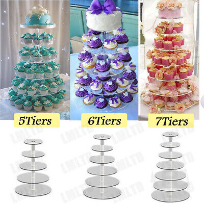 5-7 Tier Clear Acrylic Round Cupcake Stand Wedding Birthday Cake Display Tower