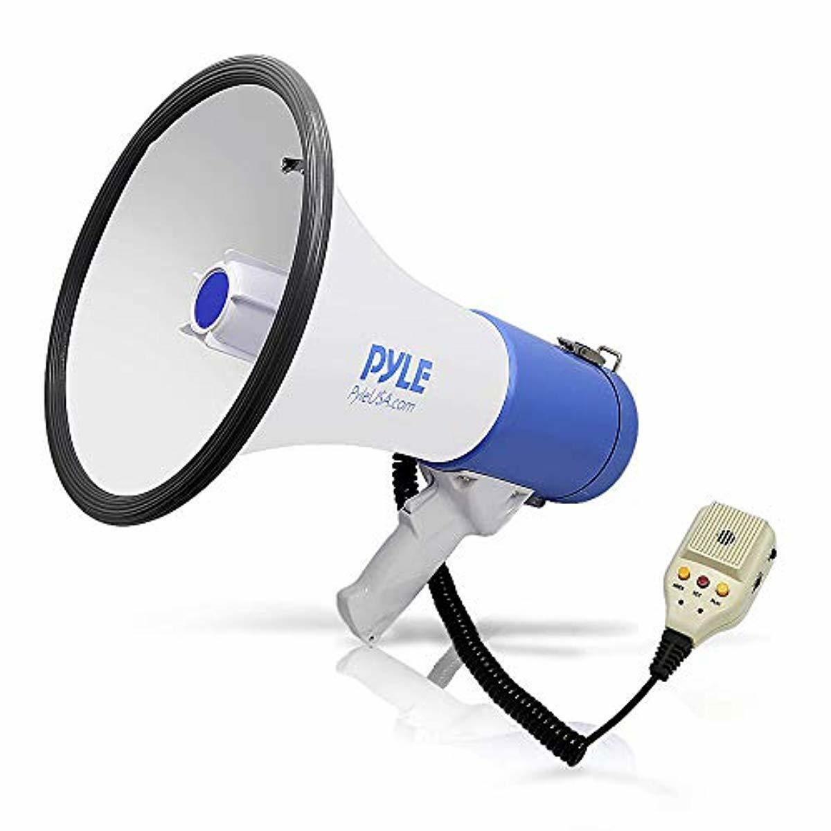 Pyle Megaphone PA Bullhorn Speaker - Built-in Siren 50 Watts