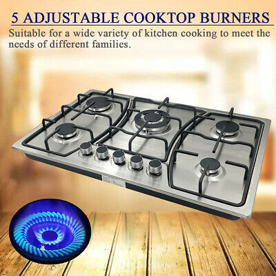 """5 Burners 30"""" Cooktop Stainless Steel Gas Stove Built-In Propane Natural Gas US"""