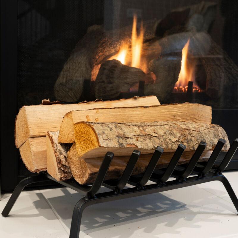 "21"" Iron Fireplace Log Grate 3/4"" Heavy Duty 7 Bar Firewood Burning Rack Holder"