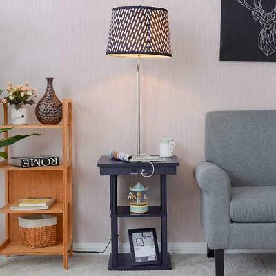 Side End Table With Floor Lamp 2 USB Ports 1 Outlet Drawer Night Stand Furniture