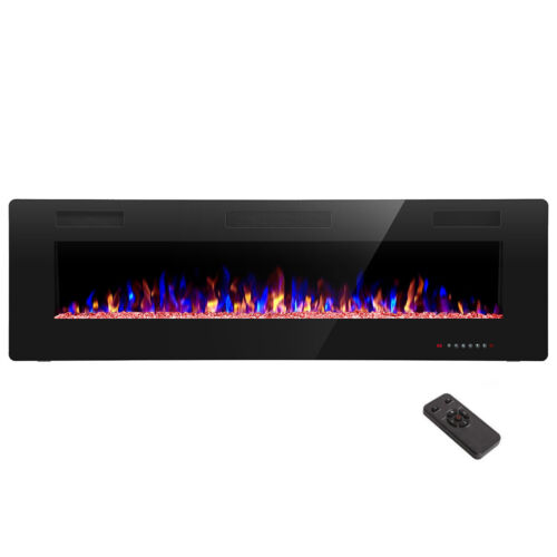 """60"""" Electric Fireplace,Recessed&Wall Mounted,Ultra Thin$Low Noise,Remote Control"""
