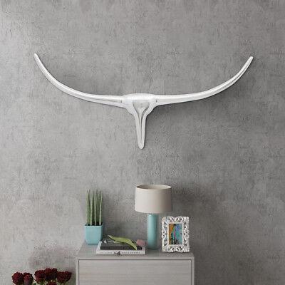 Design Alu Stierkopf Wanddekoration Bulle Stier Hörner Geweih Silber75/100/125cm