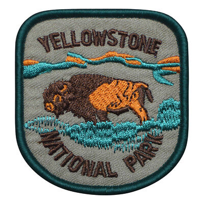Yellowstone National Park Patch   Bison Buffalo In A Field  Iron On