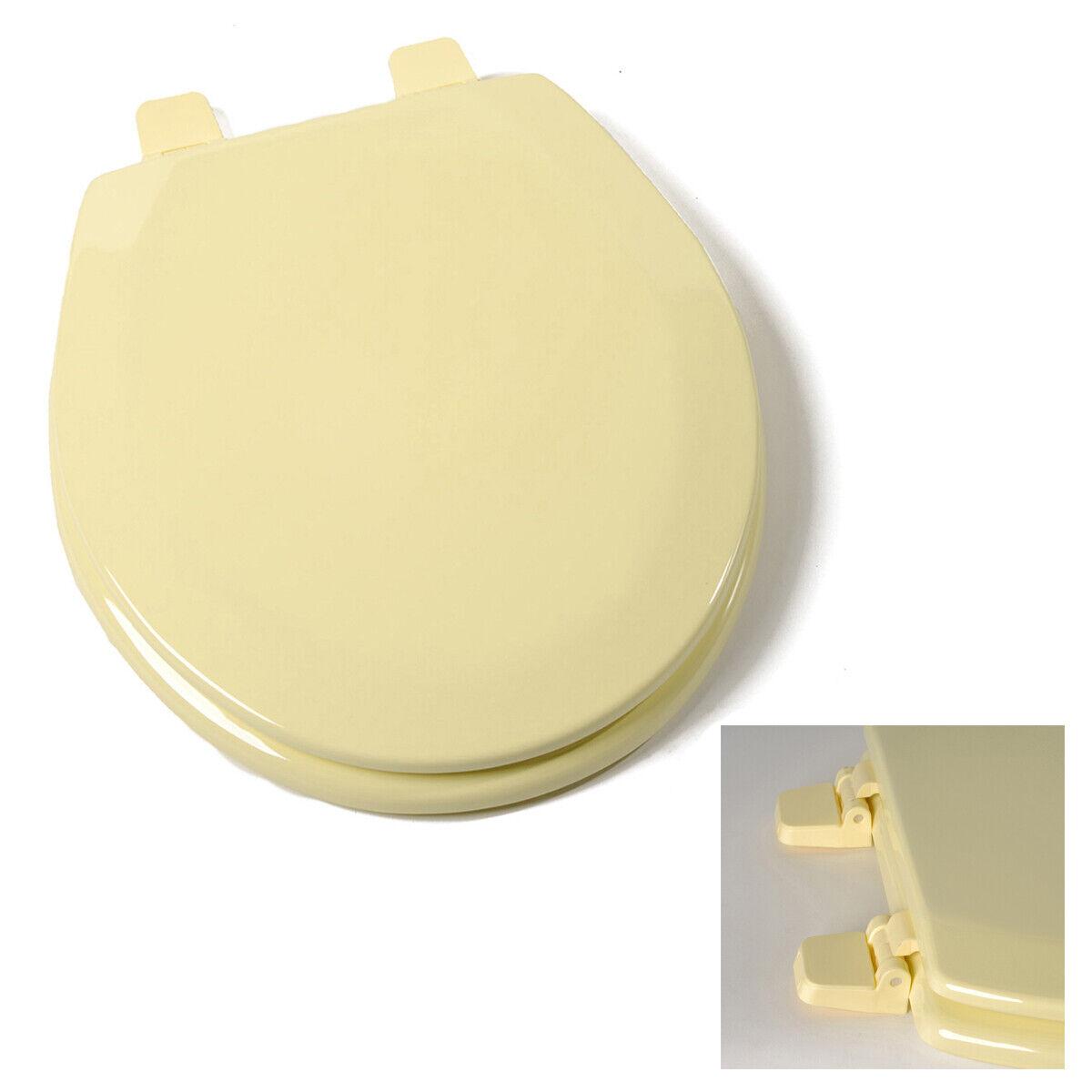 Deluxe Citron Yellow Round Wood Toilet Seat, Adjustable Hinges Bath