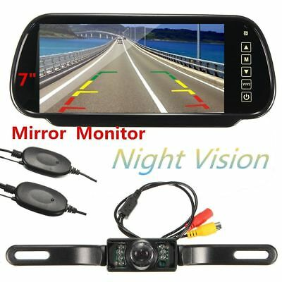 "7"" LCD Mirror Monitor+Wireless Car Reverse Rear View Backup Camera Night Vision"