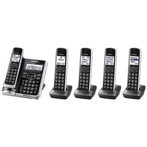 Panasonic KX-TG885SK Bluetooth Cordless Phone with Voice Assist - 5 Handsets