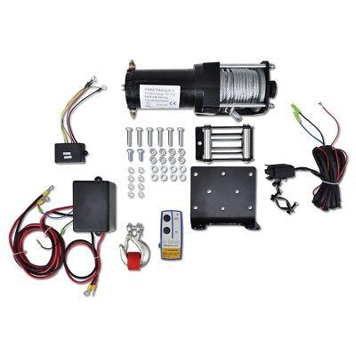 12V Elektrische Seilwinde Winde 1360KG+ Montageplatte Kabellose Fernbedienung