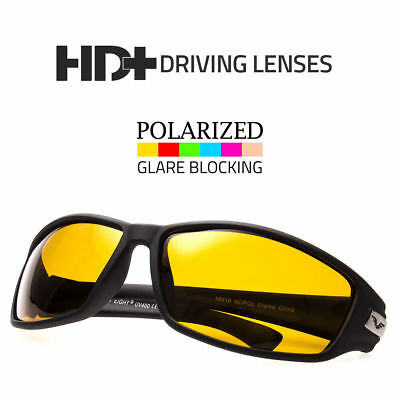 Sport Wrap Hd Night Driving Polarized Sunglasses Yellow High Definition (Sunglasses Night Driving)