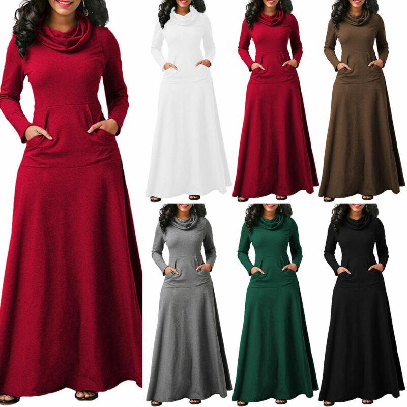 Damen Kaftan Langarm Pullover Maxikleid Abaya Jilbab Winter Casual Party Kleider