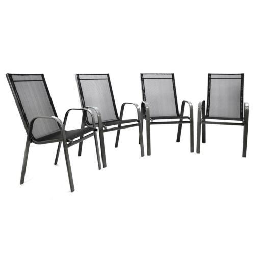 4er Set BWARE Gartenstuhl Stapelstuhl Rahmen hellgrau Textilene schwarz Stahl