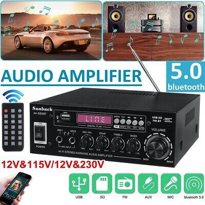 Sunbuck 2000W bluetooth Car Amplifier Home Stereo Audio 2 Channel DVD AUX FM Amp