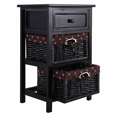 Black Night Stand 3 Tiers 1 Drawer Bedside End Table Organizer Wood W/2 Baskets (1 Drawer Bedside Table)