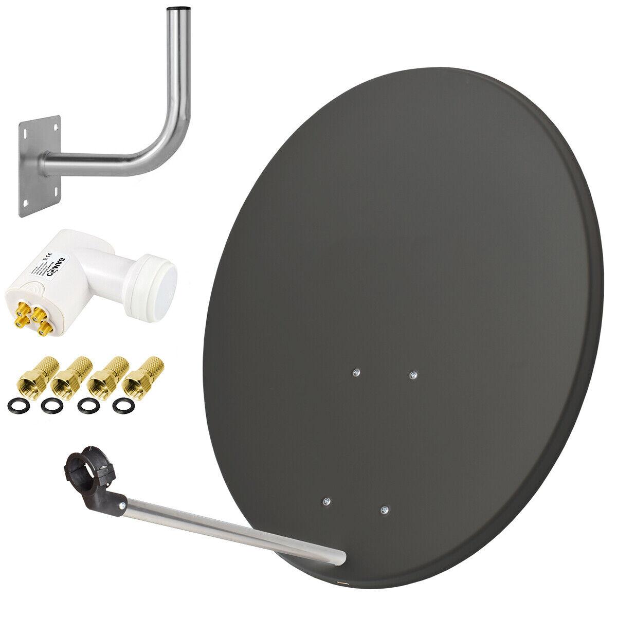 COMAG Digitale SAT Anlage 80cm Satelliten Spiegel Schüssel +QUAD LNB +Wandhalter