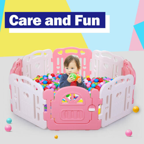 Baby Playpen 8 Panel Safety Play Center Yard  Kids Home Indoor Outdoor Pen  Pink