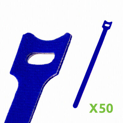 10 Inch Hook And Loop Reusable Strap Cable Cord Wire Ties 50 Pack Blue