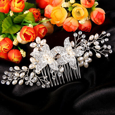 Wedding Flower Clear Austrian Crystal Pearl Bridal Hair Comb Pieces Party Gift
