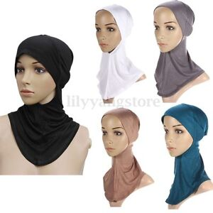 Under-Scarf-Hat-Cap-Bone-Bonnet-Hijab-Islamic-Head-Wear-Band-Neck-Chest-Cover