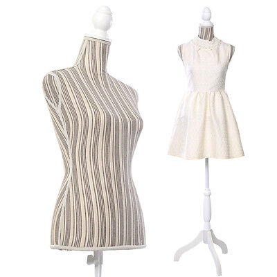 Goplus Female Mannequin Torso Dress Form Display W White Tripod Stand New