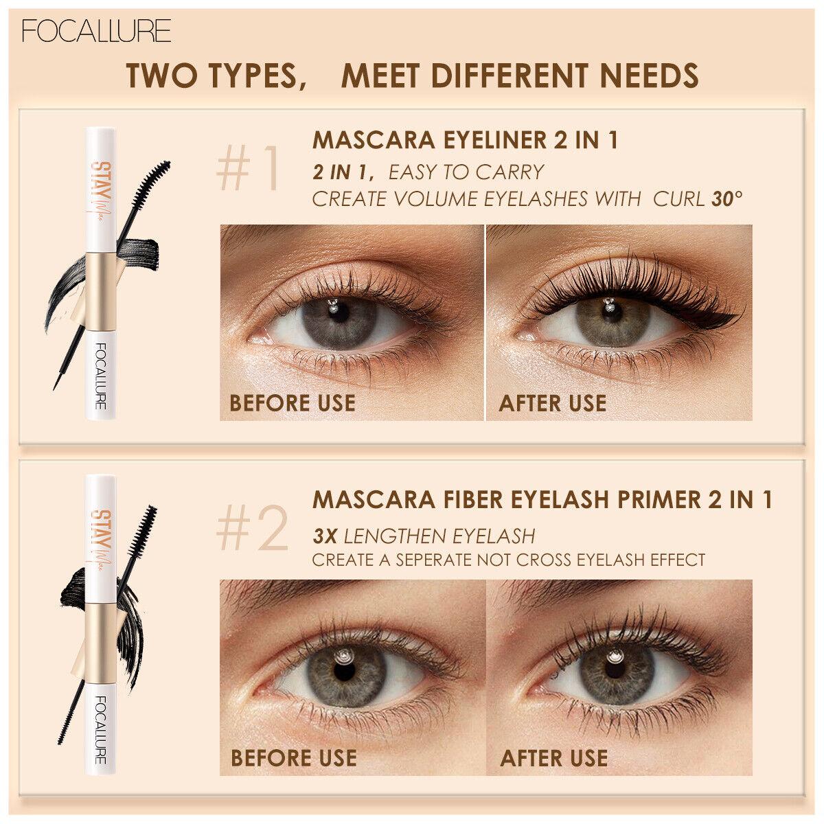 FOCALLURE, Stay Max Mascara Eyeliner 2 In 1 - $8.90