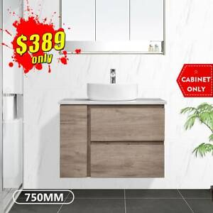 Bathroom Vanity 750mm Wall Hung Cabinet Finger Pull Albany *NEW*