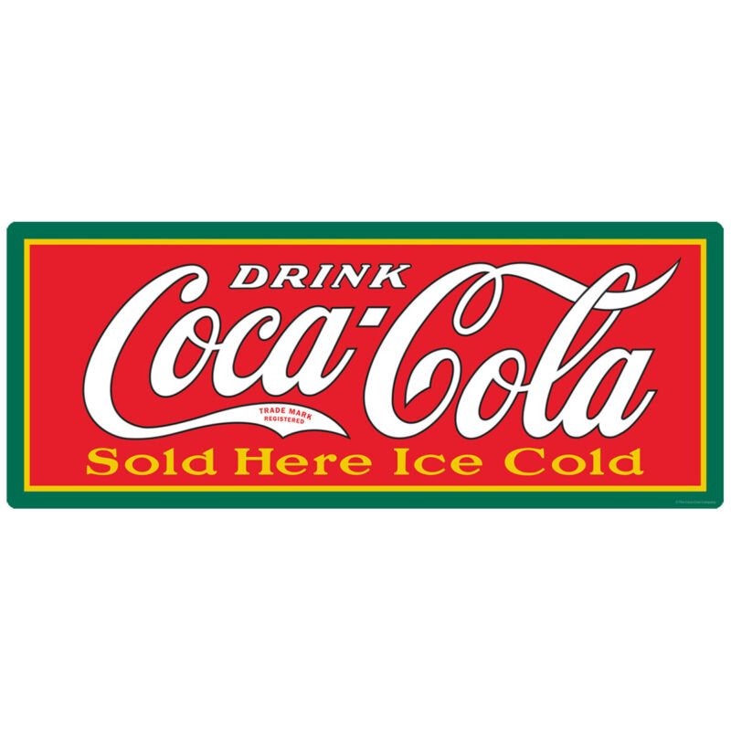 Coca-Cola Sold Here Ice Cold Wall Decal 24 x 10 Vintage Style Kitchen Decor