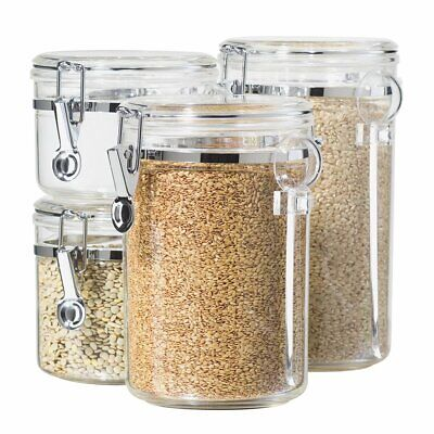 - Oggi 4-Piece Acrylic Canister Set with Airtight Lids and Acrylic Spoons-Set Incl