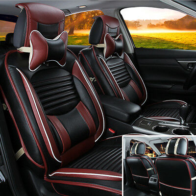 UK 8PCS Breathable Universal 5 Seat Car Leather Cushion Seat Cover Black+Pillow