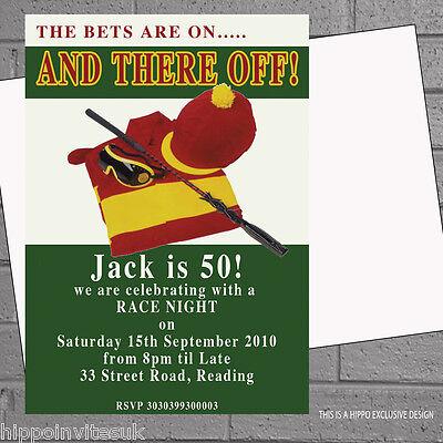 Personalised Race Night Jockey Horse Racing Birthday Party Invitations x12 H0701 (Horse Racing Birthday Invitations)