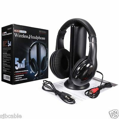 New 5 in 1 Hi-Fi Wireless Headset Headphone Earphone for TV DVD MP3 PC Black on Rummage