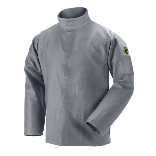 Black Stallion NFPA 9oz Gray FR Cotton Welding Jacket (Large) (JF2220-GY)