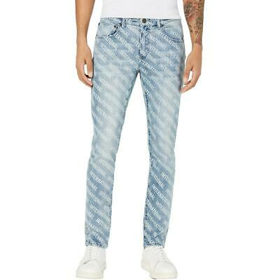 INC Mens Denim Logo Graphic Skinny Jeans BHFO 3793