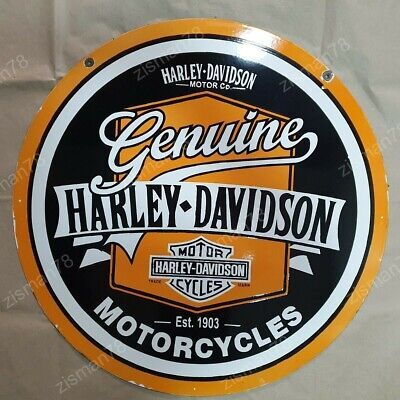 GENUINE HARLEY MOTORCYCLES VINTAGE PORCELAIN ENAMEL SIGN 30 INCHES ROUND