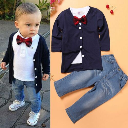 Kids Baby Boys Gentleman Suit Shirt//Coat+Pants Denim Trouser Outfits Set Clothes