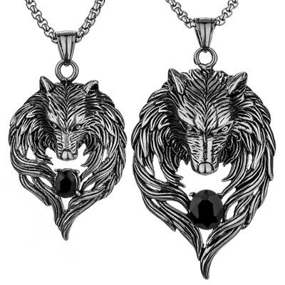Couple Necklace Wolf Pendants Valentines Day Her Him Jewelry Gift Gn41 Black
