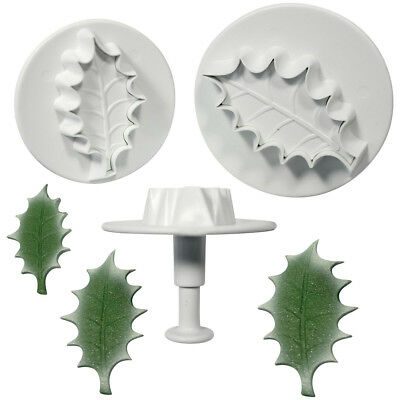 PME 3 Set Large VEINED HOLLY LEAF Plastic Icing Plunger Cutters Sugarcraft